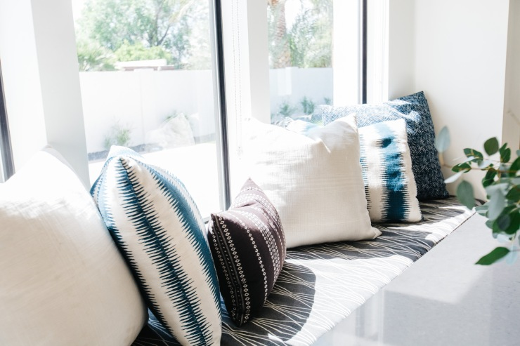 white accent pillows blue and white tribal pattern pillows window seat
