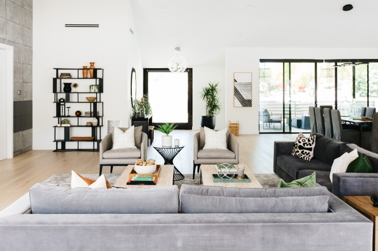 modern southwest great room full of gray and dark gray modern furniture