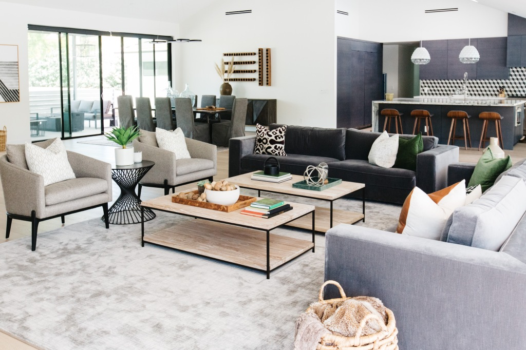 modern southwest gray and dark gray furniture in great room